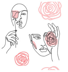 girl woman face portrait head with roses vector image