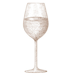 Glass of wine hand drawn sketch vector