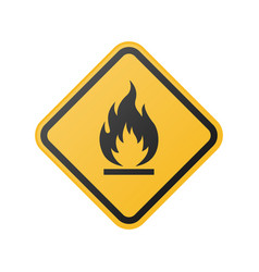 glossy fire warning sign vector image