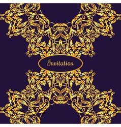 Gold ornamental card with antique luxury violet vector