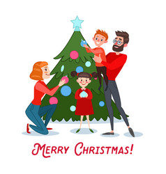 Happy family decorating christmas tree vector