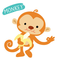 Happy monkey love to eat banana vector