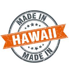 Hawaii orange grunge ribbon stamp on white vector
