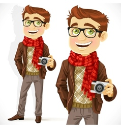 Hipster guy wearing a scarf and with a camera vector image