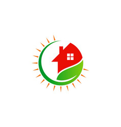 house green leaf ecology logo vector image