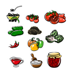 icons of products in the style of drawing vector image
