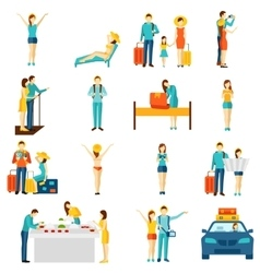 International tourism travelling flat icons set vector