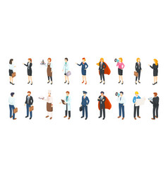 isometric people professions men and women in vector image
