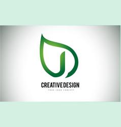 J leaf logo letter design with green leaf outline vector