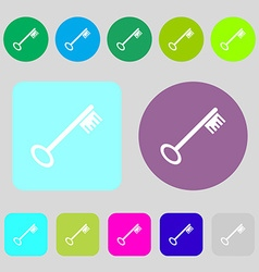 Key icon sign 12 colored buttons Flat design vector image