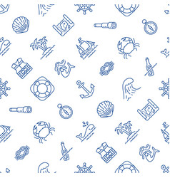 marine blue and white seamless pattern vector image