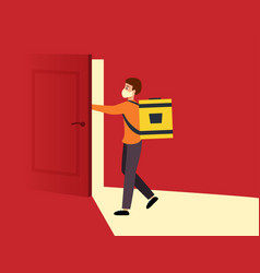 Mask courier on doorstep delivery food or vector