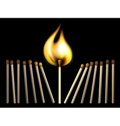 Matchsticks and fire vector