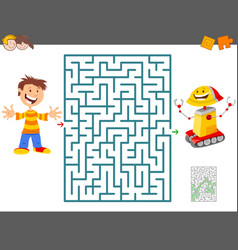 Maze game with cartoon boy and toy robot vector