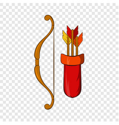 medieval bow with arrows and quiver icon vector image
