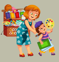 Mother and daughter making purchases vector