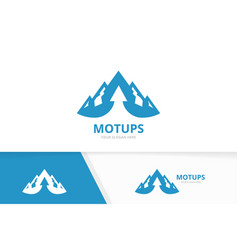 mountain and arrow up logo combination vector image