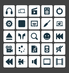 Music icons set collection of headphone smile vector
