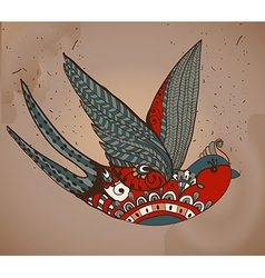 Old-school style tattoo swallow Vintage Valentine vector