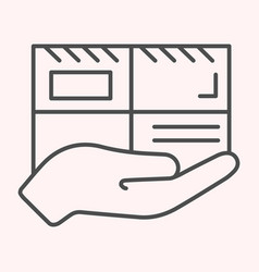 parcel thin line icon mail delivery hand holding vector image