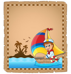 parchment with sailor in boat 1 vector image