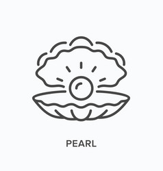 Pearl line icon outline of vector
