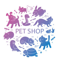 Pet shop silhouette in circle template vector