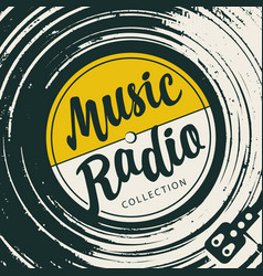 Poster for music radio with an old vinyl record vector