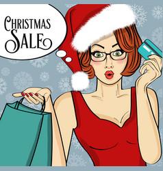 poster with pop art santa girl vector image