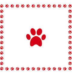 Red animal pawprint icon framed with paw prints vector
