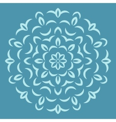 Round flower pattern on blue backround vector