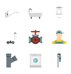 Sanitary appliances icons set flat style vector image