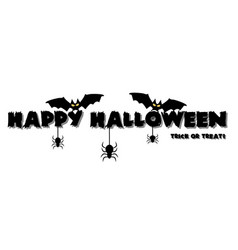 scary happy halloween text banner with spiders vector image