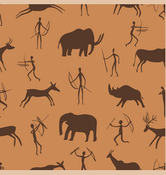 Seamless pattern ancient rock paintings show vector
