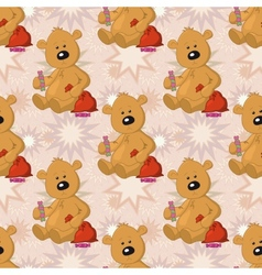 Seamless pattern teddy bear with Christmas bag vector image