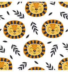 seamless pattern with baface lion vector image