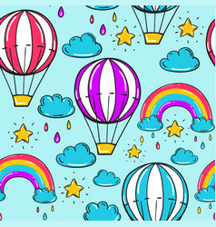 Seamless pattern with balloon stars rainbow vector