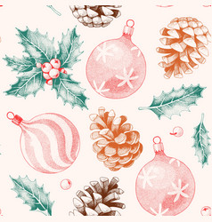 Seamless pattern with pine cones and xmas toys vector