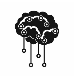 Sensors on human brain icon simple style vector