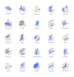 Seo and auditing isometric pack vector