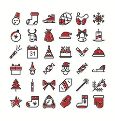 set christmas icons color style vector image