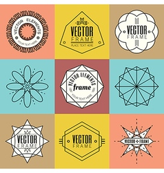 Set line art insignia retro vintage design element vector image