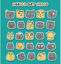 Set of 25 doodle cats with different emotions vector image