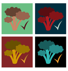 Set of broccoli flat isolated on background vector