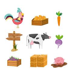 Set of farm icons vector