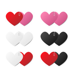 set of paper hearts stick with paper clip vector image