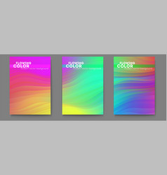 set posters with abstract flowing pattern vector image