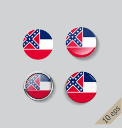 set round buttons with image mississipi vector image