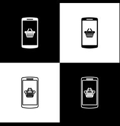 set shopping basket on screen smartphone icons vector image