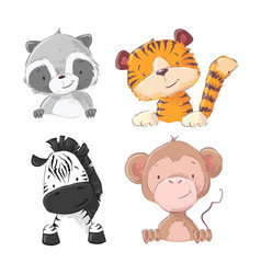 set zebra monkey tiger cub raccoon cartoon vector image